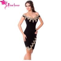 Dear Lover Roupas Feminina Sexy Party Robes Gold Lace Applique Black Off Shoulder Mini Dress Vestidos