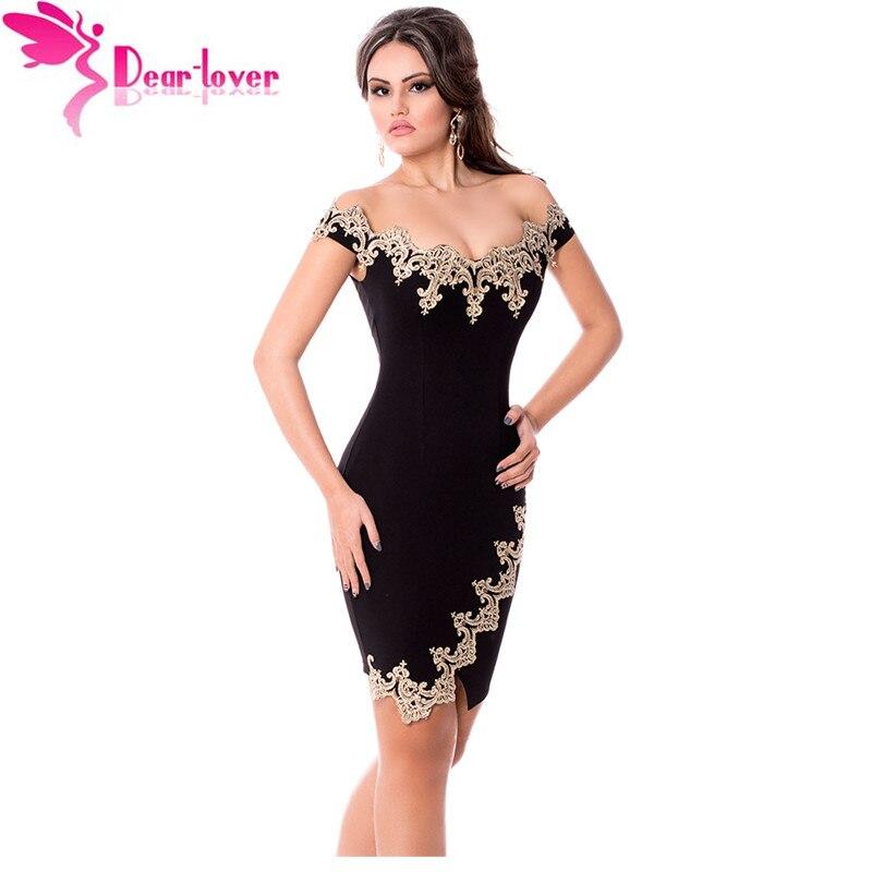 Dear Lover roupas feminina Sexy Party Robes Gold Lace Applique Black Off Shoulder Mini Dress vestidos de festa elegantes LC22715