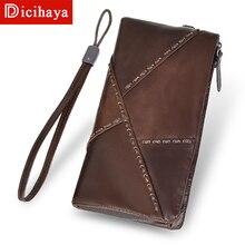 DICIHAYA, длинные ультратонкие кошельки из натуральной кожи с ремешком, дизайнерский кошелек из воловьей кожи, роскошный мужской кожаный кошелек на молнии, сумка для телефона