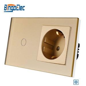 Image 3 - Bingoelec padrão da ue 1 gang 1 way interruptor de toque dimmer com alemanha soquete painel vidro interruptor luz parede, 86*157mm