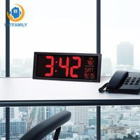 Desktop LED Digital Calendar clock 14inch Electronic wall clock Large screen with thermometer Daylight saving for kitchen mural