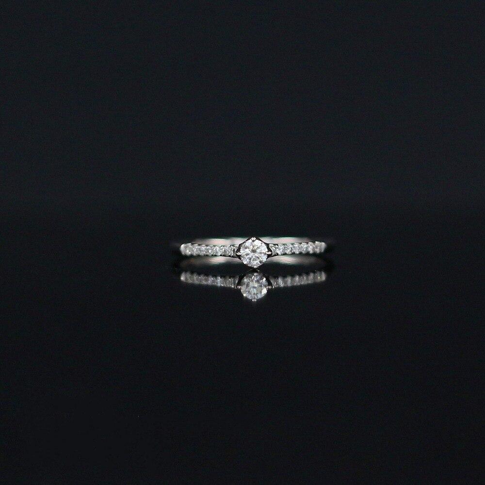LASAMERO 0.121 CT H/SI Ronde Cut Moderne Ontwerp Natuurlijke Diamond Ring Voor Vrouwen 18 k Wit Goud Gecertificeerd Engagement Wedding Ring