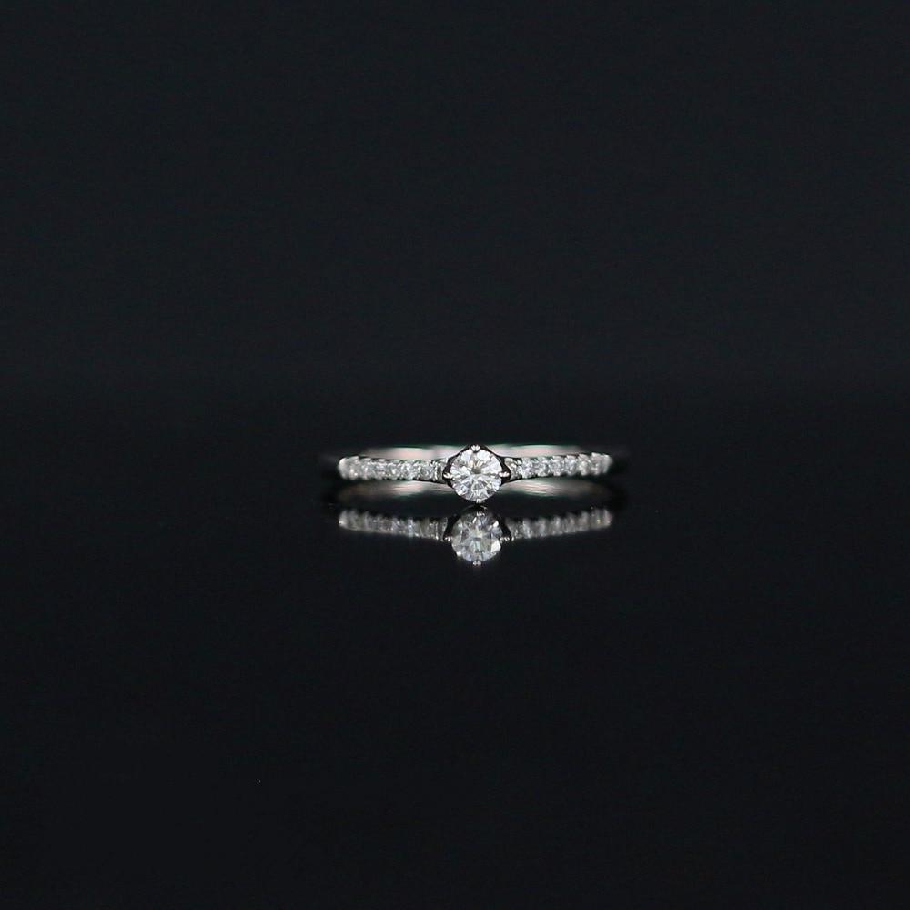LASAMERO 0.121 CT H/SI Tondo Taglio Design Moderno Anello di Diamante Per Le Donne 18 k Oro Bianco Naturale Certificata Engagement Wedding Ring