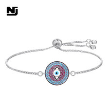 NJ Unique Design Round Evil Eye Women Charm Bracelets & Bangle High Quality Silver Chain Adjustable Copper Jewelry For Girls