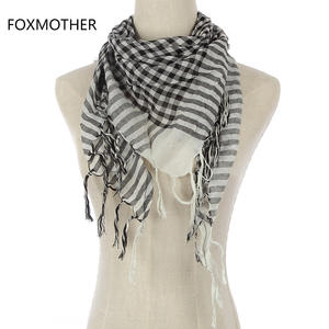 FOXMOTHER Black White Green Plaid Scarf For Women Mens
