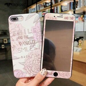 Image 4 - TRONSNIC funda de teléfono con película de vidrio templado para iPhone, protector de pantalla de cristal templado para iPhone X, XS, MAX, XR, 6, 6S, 7, 8 Plus, color azul y rosa