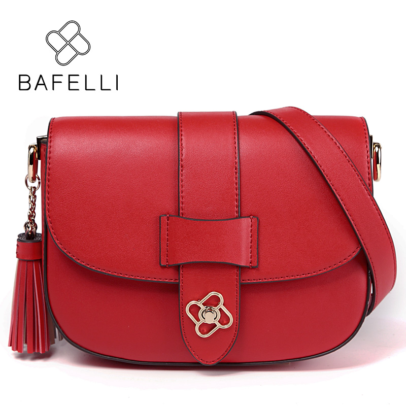 BAFELLI split leather women bag vintage tassel shoulder bag red saddle crossbody bag brown bolsa feminina women messenger bags