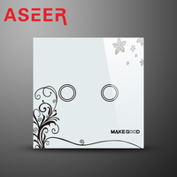 ASEER Hot Selling 2 Gang Wall Light Touch Switch UK Standard Electrical Touch Switches Crystal Glass
