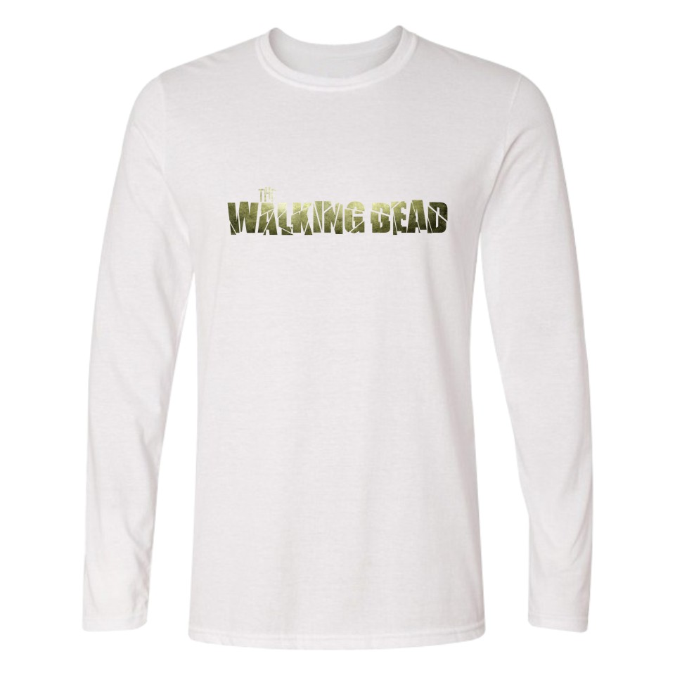 LUCKYFRIDAYF The Walking Dead Zombies Long Sleeve T Shirt Men Punk TShirts and Cotton T-shirt White in Black Tee Shirts