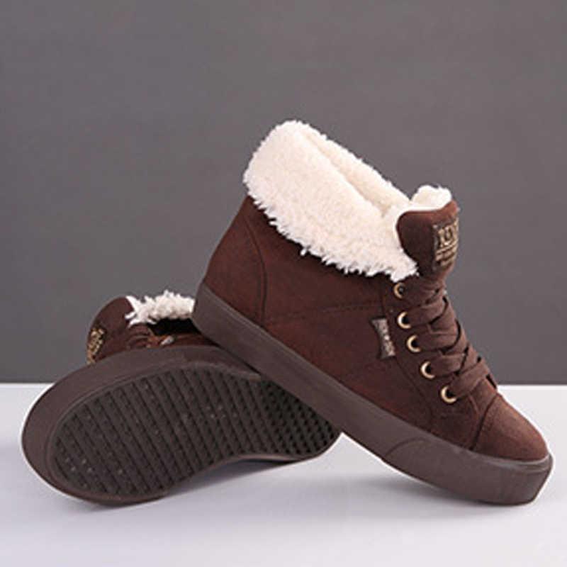 Kadın yarım çizmeler 2019 akın kış ayakkabı kadın kar botları yüksekliği artan sıcak düz çizmeler