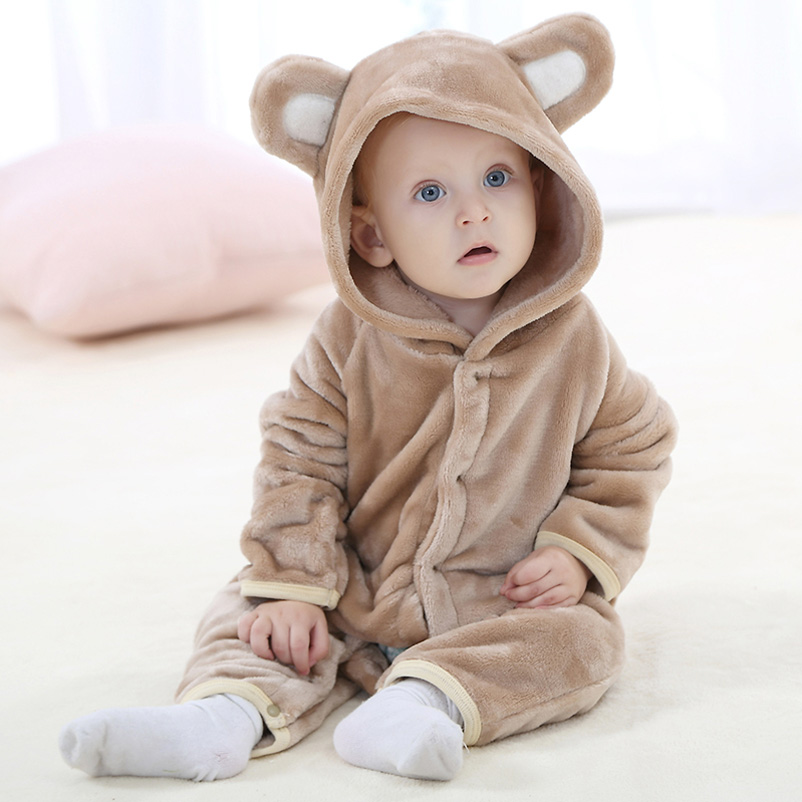 fce2b18db96 Baby Coral Fleece Hooded Romper Long Sleeve Winter Warm Infant ...