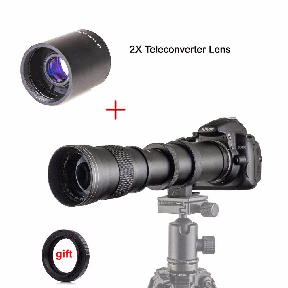 420-800mm F/8.3-16 Boîte Manuelle Super Téléobjectif + 2X Téléconvertisseur pour Canon nikon Pentax Olympus Monture Sony E M4/3