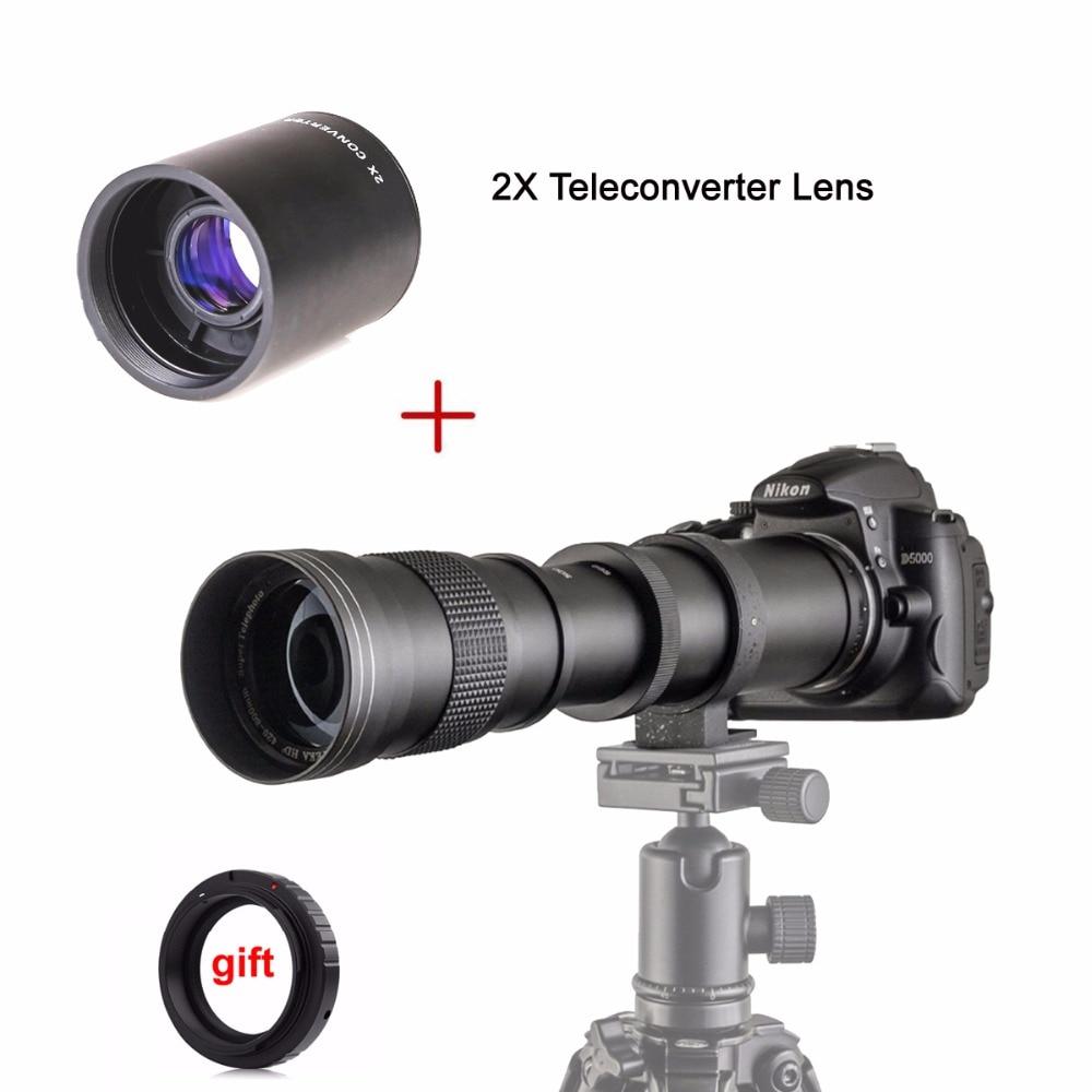 420-800mm F/8.3-16 Manual Super Telephoto Zoom Lens + 2X Teleconverter Lens for Canon Nikon Pentax Olympus Sony E Mount M4/3
