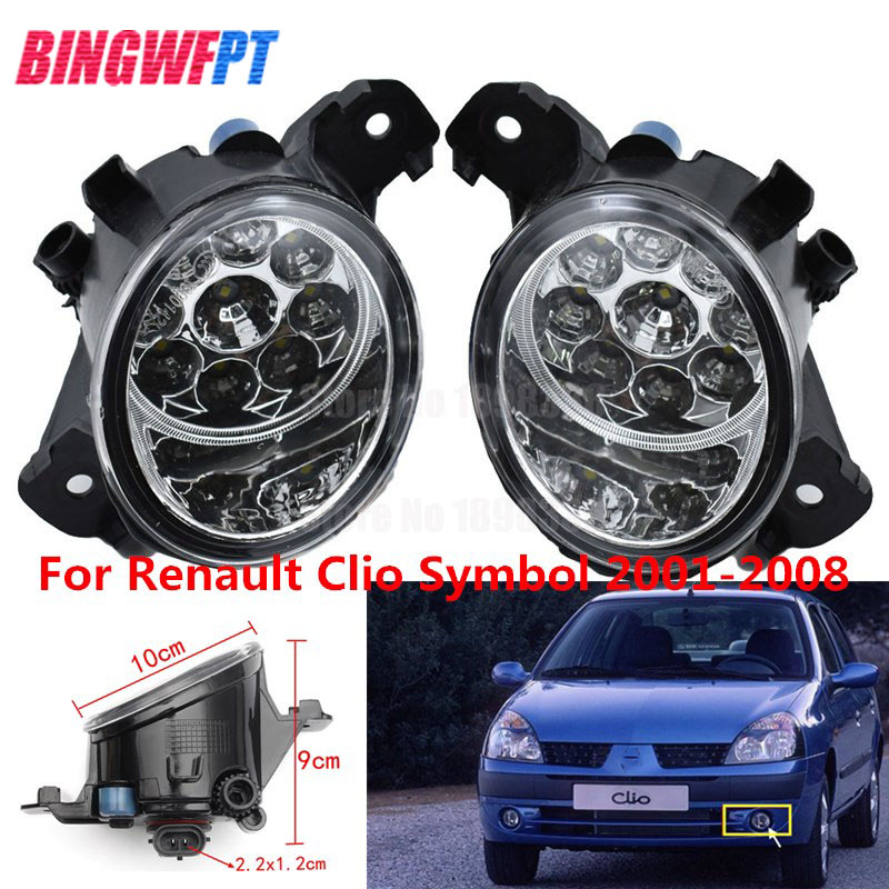 2PCS <font><b>LED</b></font> Fog LIGHT Lights For <font><b>Renault</b></font> SYMBOL (LB0/1/2_) Saloon CLIO VEL THALIA <font><b>MODUS</b></font> Hatchback 1998-2015 White Yellow image