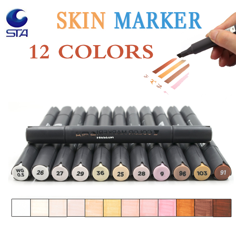 STA 12 Colors Sketch Skin Tones Marker Pen Artist Double Headed Alcohol Based Manga Art Markers brush pen for School Supplies sta 24color copic marker art sketch design marker double head art markers paint marker for office school student art supplies
