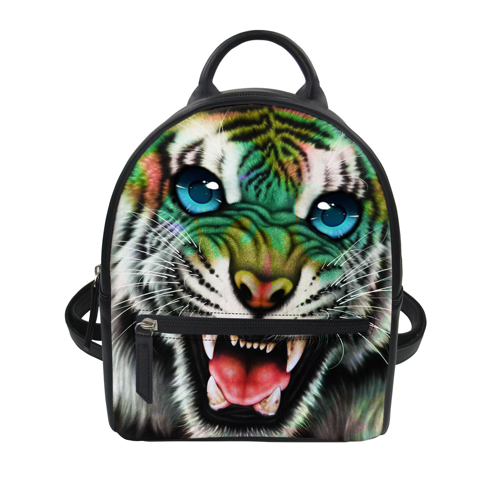 FORUDESIGNS Animal mignon tigre blanc sac à dos en cuir cartable pour adolescent garçons sac à bandoulière enfants enfant sac à dos infantile