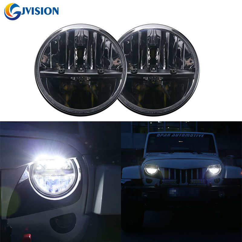 7'' Black LED Headlight High/Low Beam Light front round 7inch headlamp led  Driving light for Jeep JK Wrangler 97-15 4x4 Offroad 7inch round black left hand led headlight hi low beam 80w high bright driving lamp for jeep harley
