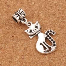 Slim Lady Cat Charm Beads 100pcs Antique Silver Dangle 16x36 mm Fit European Bracelets B1160 брюки lady charm
