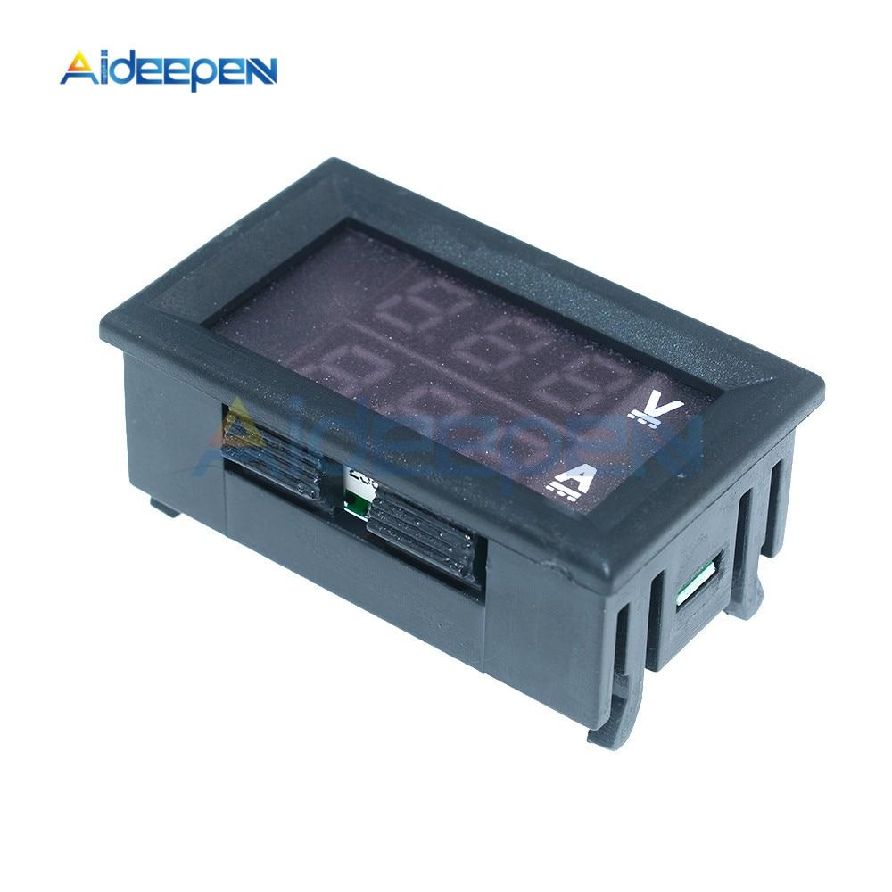 """Mini Digital Voltmeter Ammeter DC 100V 10A Voltmeter Current Meter Tester 0.28"""" 0.28 inch Blue+Red LED Amp Dual LED Display 8"""