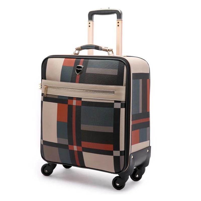 Chaud! 2018 nouvelles femmes spinner voyage sac en cuir valise à roulettes marque sac à main bagages ensembles hommes rétro Trolley valise sur roues-in Ensembles de bagages from Baggages et sacs    3