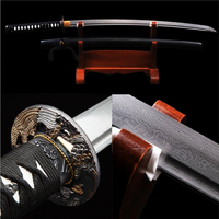 Full Handmade Black Japanese Samurai Sword Katana Damascus Folded Steel Blade Practical Sharp Gift