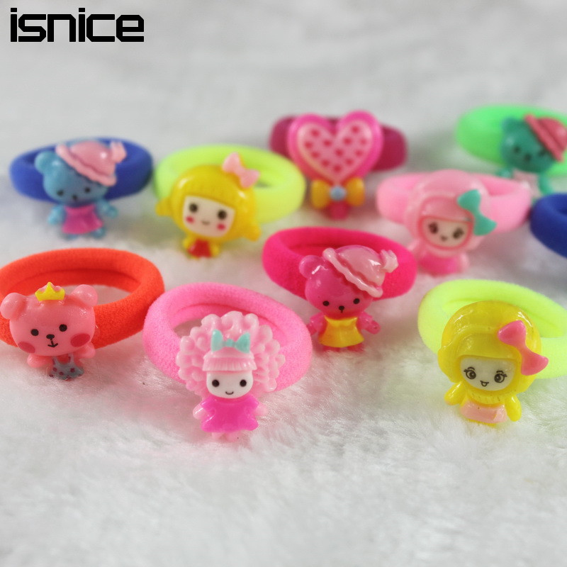 isnice 14 Pcs (7pairs) Cartoon Candy Color Elastic Hair ties Ropes Gum for Hair holder For Girls hairpin Hair Accessories halloween party zombie skull skeleton hand bone claw hairpin punk hair clip for women girl hair accessories headwear 1 pcs