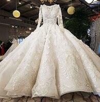 Роскошное бальное свадебное платье цвета слоновой кости с длинными рукавами и v образным вырезом Свадебное платье Аппликация из бисера Сва