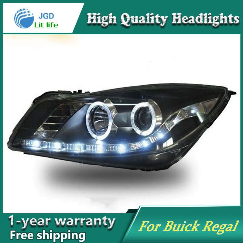 Car Styling Head Lamp case for Buick Regal Headlights 2009-2013 LED Headlight DRL Lens Double Beam Bi-Xenon HID car Accessories 2016 stainless steel car styling front cup holder panel sequins for buick regal 2009 2016 car accessories decoration sequins