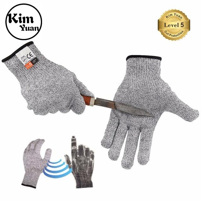 KIM YUAN Corte Resistentes Luvas de Trabalho Luvas de Mecânico de Utilidade Geral Respirável, Skid Resistente À Abrasão, 018