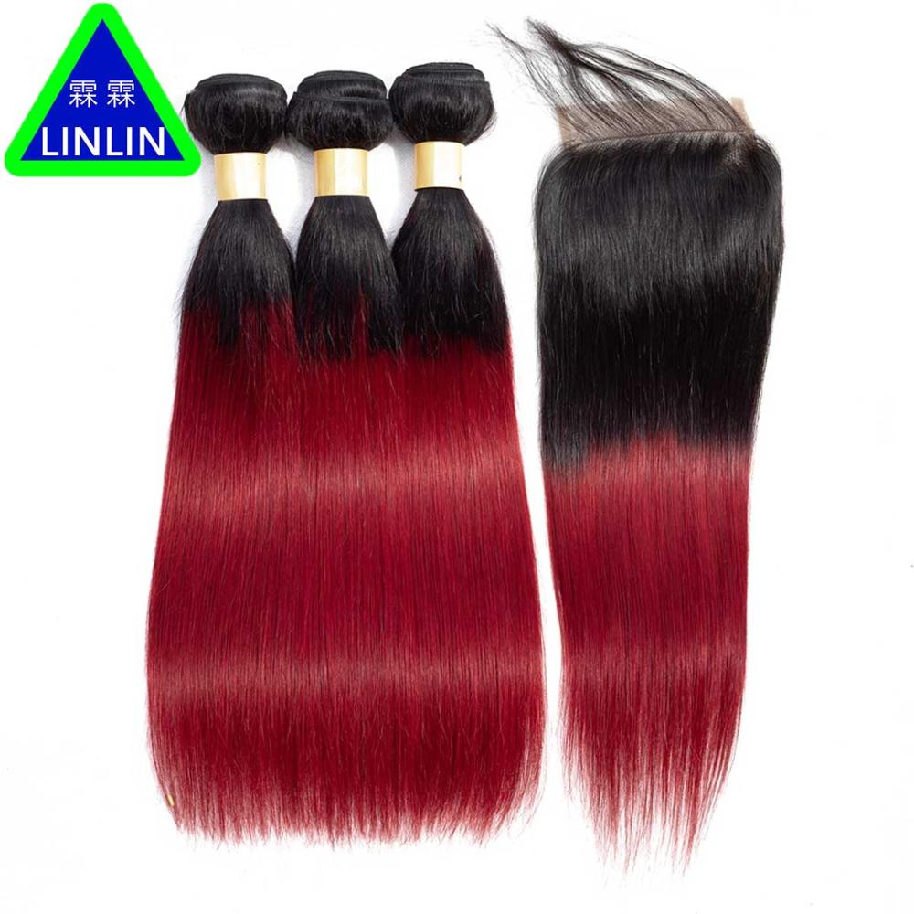 LINLIN Hair Ombre Straight Hair Bundles with Closure 1B/burgundy Brazilian Straight Human Hair3 Bundles with Closure Hair Roller malaysian deep wave human hair extension virgin hair weave 3 bundles for black women wet and wavy human hair bundles sewin weave