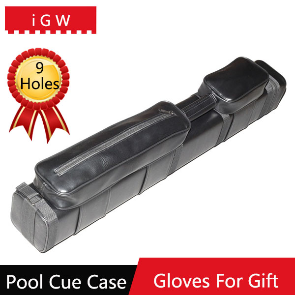 2016 iGW Large Capacity New Billiard Leather Pool Cue Case Size 85cm*12cm*12cm 9 Holes Can Put 3 Whole Cues And 3 Foreparts