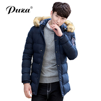 Puza Hot Selling Autumn Winter Long Parka Men Casual Slim Fit Thicken Fur Hood Winter Jackets