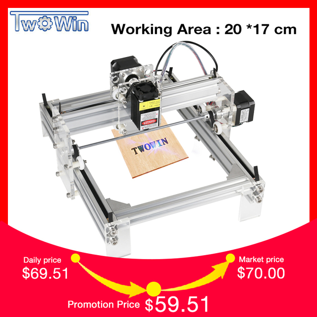 Twowin 500mw/2500mw/5500MW Desktop DIY Violet Laser Engraving Machine Picture CNC Printer, Working Area 20cmx17cm CNC Router