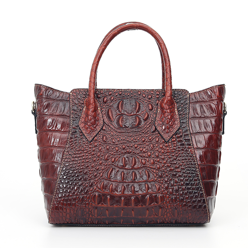Women Sling Shoulder Messenger Tote Handbag Genuine Leather Crocodile Pattern Luxury Oil Wax Cowhide Cross Body