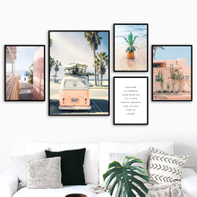Pink Bus Coconut Tree Cactus Sea Pineapple Nordic Posters And Prints Wall Art Canvas Painting Picture For Living Room Decor