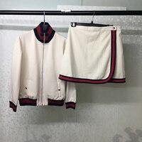 Осенний комплект из двух предметов для женщин, комплект с юбкой, элегантная мини юбка и куртка на молнии, Женский костюм высокого качества