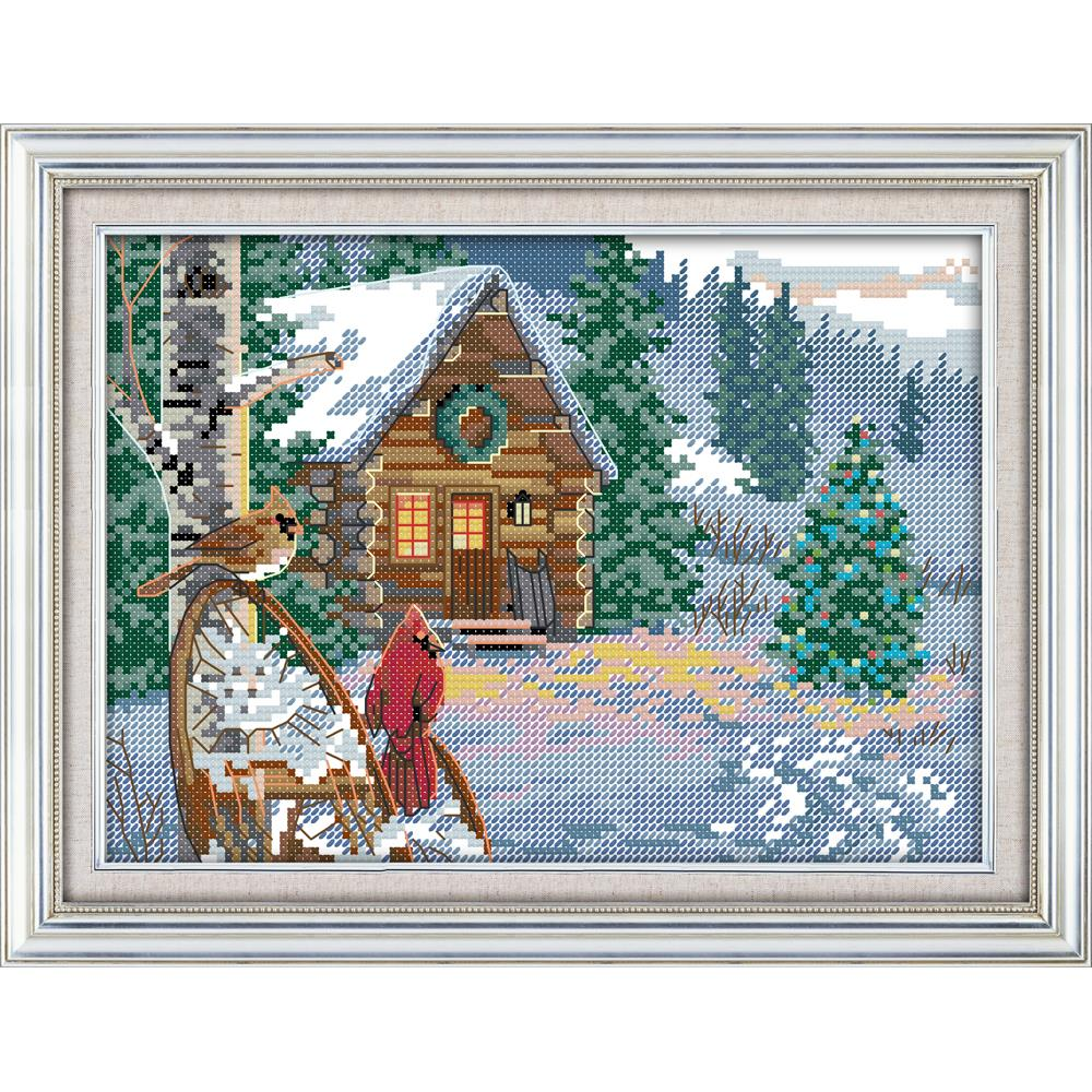 Everlasting love Winter cabin Chinese cross stitch kits Ecological cotton 11 CT stamped DIY Christmas decorations for home gift