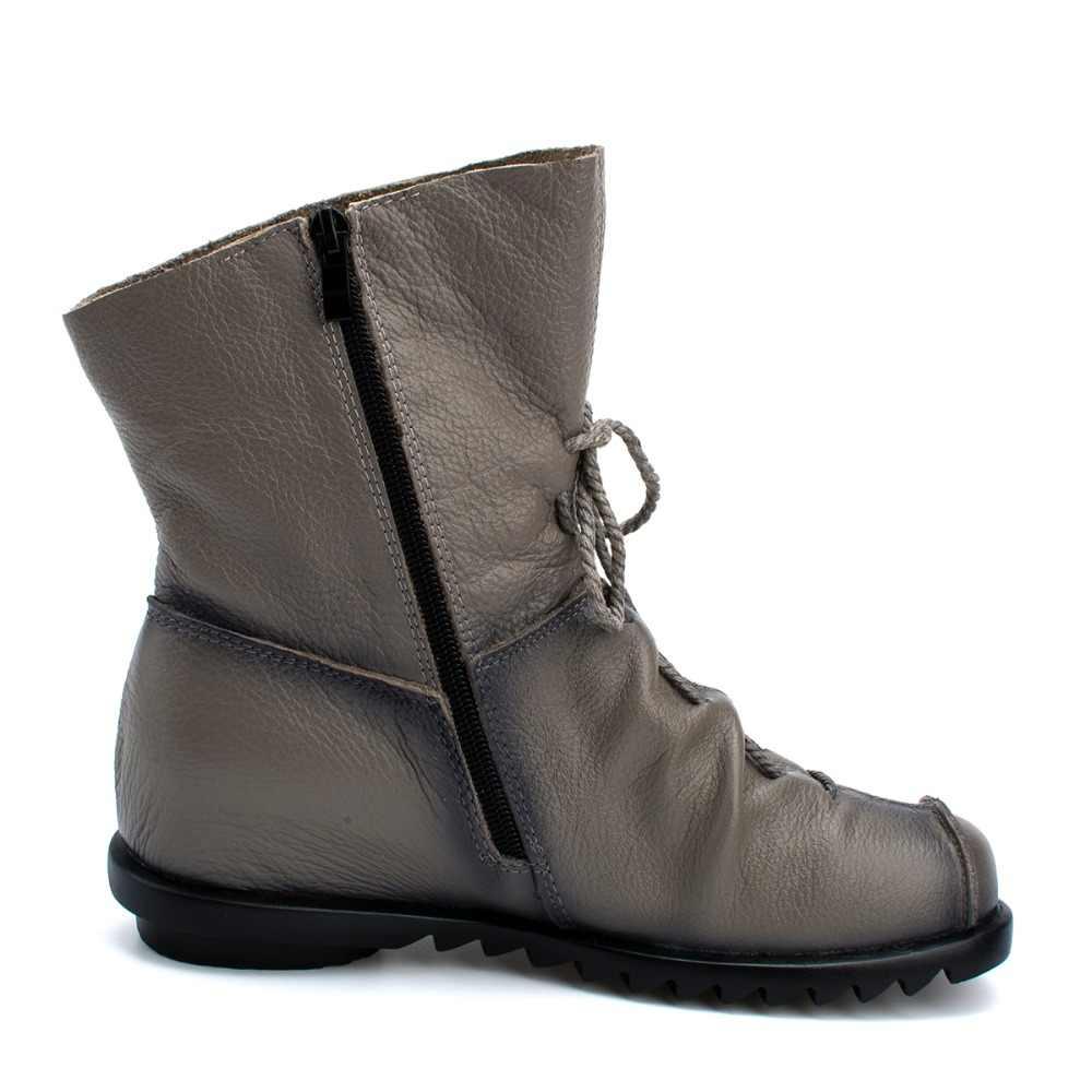 Artı boyutu hakiki deri kadın çizmeler sonbahar kış moda pilili yarım çizmeler sıcak yumuşak açık rahat düz ayakkabı bayanlar için