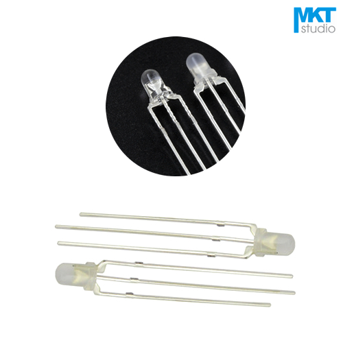 100Pcs Free Shipping Clear/Diffused 3mm Long Pins Through Hole Double LED Diode Red&Green Red&Blue Common Anode/Cathode