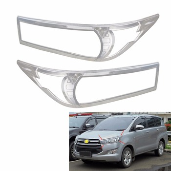 Chrome Head light Cover Trim For Toyota INNOVA 2015 2016 AN140 Head Lamps Shell Frame Decoration Car Accessories image