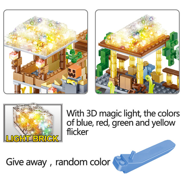 My World Blocks 3D LED Light Farm Series Compatible LegoINGLYS Minecrafted  DIY Guard Educational Fun Toys For Children 2
