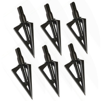 6pcs Stainless Steel Broadheads 3 Fixed Blades Sharp Arrow Head Hunting Shooting 100 Grain Archery Arrowheads