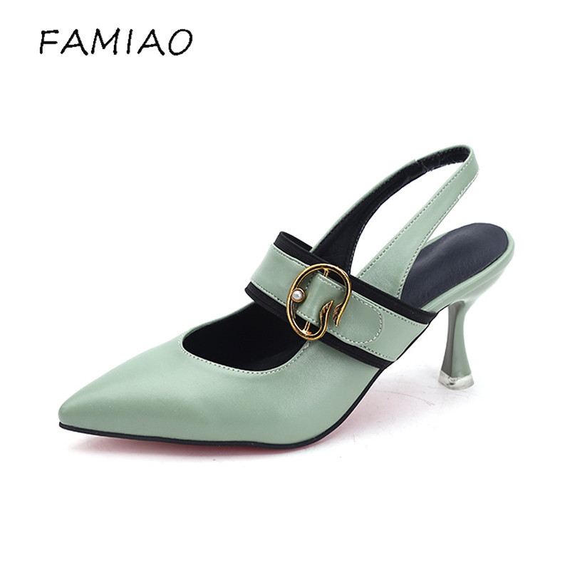 FAMIAO Ankle Straps High Heels Sandals Summer Shoes Ladies Pointed Toe Patent Leather Party Wedding Shoes women pumps sexy shoes sexy pointed toe sheepskin leather high heeled shoes straps ankle wrap sandals women thin heels ol summer boots sandals