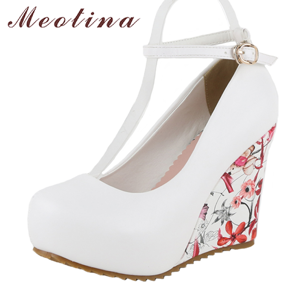 Meotina Platform Shoes Women Wedding Bridal Shoes Pumps Wedges High Heels Flower Party Pumps Ankle Strap Shoes 2018 Spring 34-43 meotina high heels shoes women wedding shoes platform high heel pumps ankle strap bow spring 2018 shoes white pink big size 43
