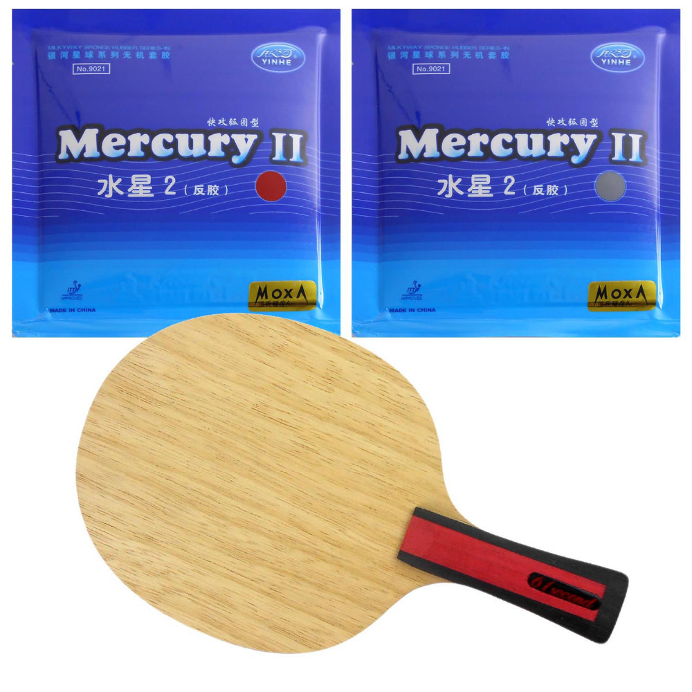 61second 3004 Blade Shakehand with 2x Galaxy Mercury II Rubbers for a Table Tennis Combo Racket with a free small case galaxy yinhe emery paper racket ep 150 sandpaper table tennis paddle long shakehand st