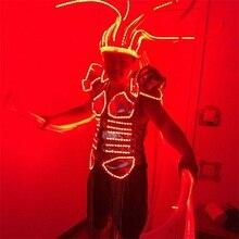 Новинка LED световой Костюмы осветить Головные уборы платье мигает растет LED костюм для сценического шоу событие для вечеринок