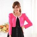 2016 новых Корейских женщин мода шаль Тяжелая бисероплетение сладкий дикий плюс размер длинным рукавом кардиган шаль короткие женские куртки