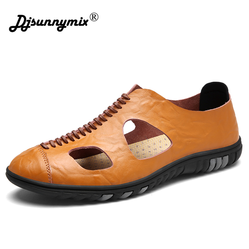 DJSUNNYMIX Summer Men Beach Sandals Handmade Genuine Leather Hollow Breathable Sandals Men Leisure Durable Non-slip Shoes цена 2017