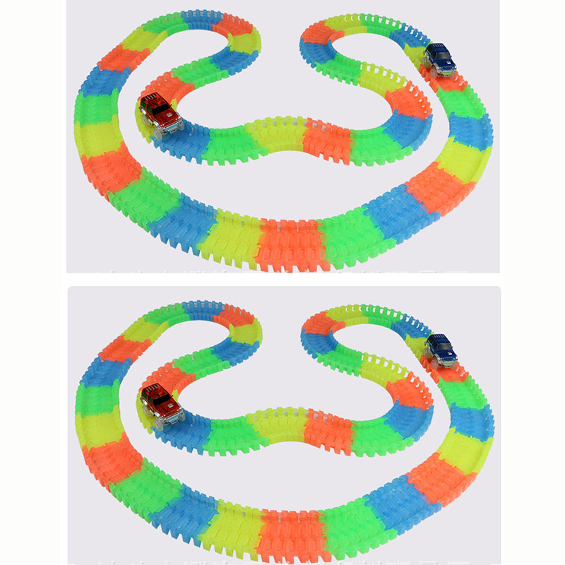 500pcs 2pcs Car Glowing Race Track Bend Flex Glow in Dark Flexible Tracks Assembly Cars Toys Roller Coaster car Toy for Kid gift