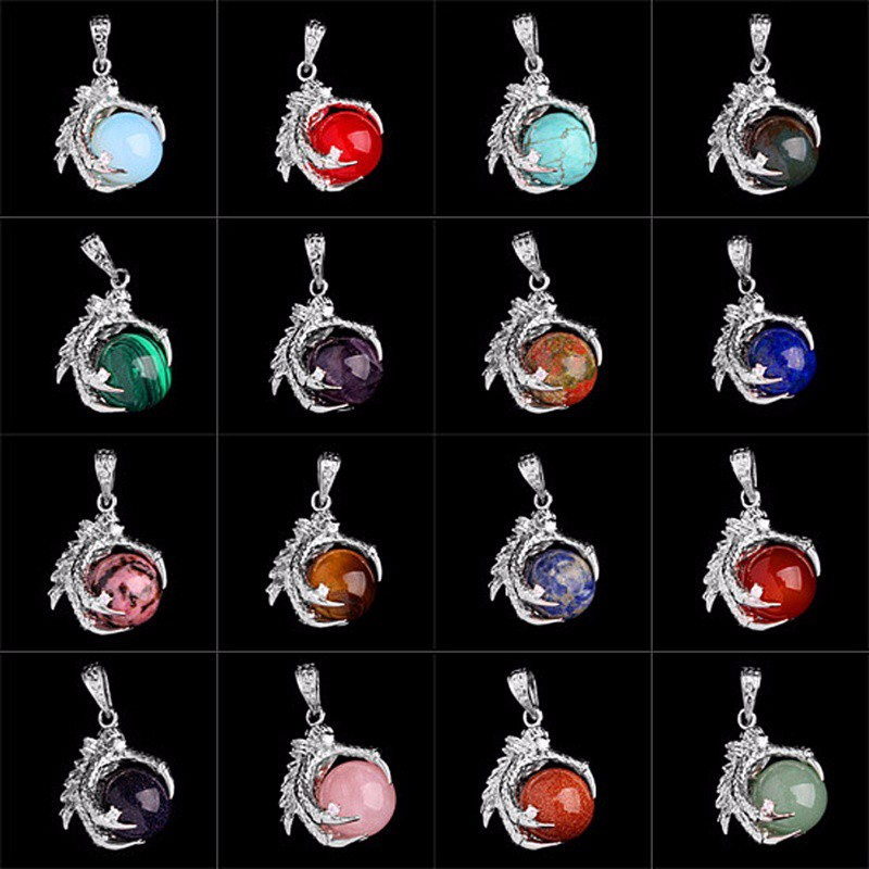 Silver Plated Dragon Colorful Ball Necklaces